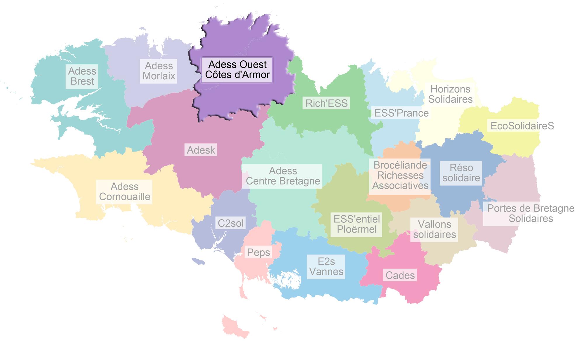 Carte pôles ESS Bretagne